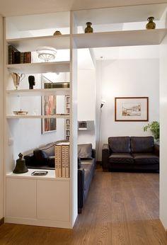 Living Room Partition Design, Living Room Divider, Room Partition Designs, Ceiling Design Living Room, Dining Room Walls, Home Living Room, Living Room Decor, Bookshelf Room Divider, Casa Milano
