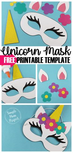 Unicorn Face Masks with FREE Printable Templates is part of Kids Crafts Birthday Simple - Check out this post for FREE printable Unicorn Face Mask templates! Comes with two cutout templates AND coloring sheets for kids of all ages! Kids Birthday Crafts, Easter Crafts For Kids, Diy For Kids, Birthday Parties, Birthday Diy, Simple Crafts For Kids, Birthday Gifts, Diy Niños Manualidades, Unicorn Mask