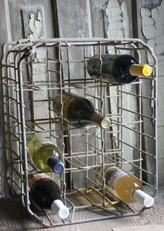 repurposed dairy crate becomes a wine rack