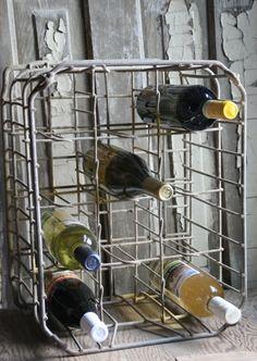 """Vintage milk crate repurposed to store """"adult water"""" <3"""