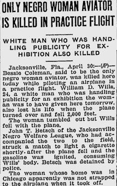 John T Betsch & Bessie Coleman Bessie Coleman, Daily Sun, Aviation World, Aviators Women, Wright Brothers, The Headlines, White Man, Black History, Sentences