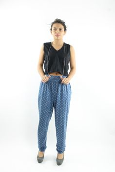 80s Trouser Pants High Waist Slacks Blue Rayon Knit by ScarletFury, $46.00 Vintage Clothing