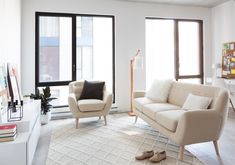 WHEN IN DOUBT, GO WHITE.  It's a well known fact that dark walls can shrink a space while white walls create a feeling of openness, and the same rule applies to furniture! For an airy apartment that doesn't feel cramped, keep your furnishings light and bright. A sofa in a pale tone, like our Gramercy, is a beautiful and fresh alternative to the common charcoal sofa.