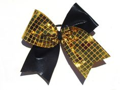 Black and Gold Square Sequin Cheer Hair Bow www.beckysbowboutique.com Cheer Hair Bows, Little Diva, Boutique Hair Bows, Sequins, Gold, Accessories, Black, Fashion, Moda