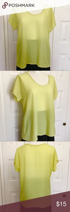 Lime green sheer blouse Sheer, short sleeve flowy blouse in pretty lemon-lime green! Great top by Soprano from Nortstrom's. GUC  cool resort wear, festivals, even for the office or school Soprano Tops Blouses