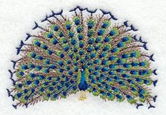 Peacock Embroidered Terry Kitchen Towel by forgetmeknottreasure.etsy.com