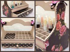 Nail Polish Organizer Wooden Storage Box with by CLVLArtsBrazil