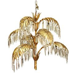 Pair of venetian peach glass and brass leaves pendant chandeliers gold leaf metal and crystal palm frond chandelier aloadofball Images