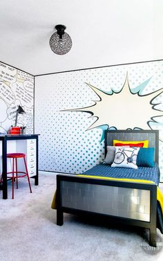 Its reveal day and I& showing my a pop art bedroom makeover. This room is full of fun walls and great DIT furniture to complete the pop art theme! Pop Art Bedroom, Home Decor Bedroom, Diy Home Decor, Queen Bedroom, Serene Bedroom, Bedroom Artwork, Lego Bedroom, Minecraft Bedroom, Bedroom Sets