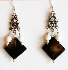 Black and White Diamond Shape Gemstone Beaded Dangle Earrings   Agate and Shell by NevadaLadyJ on Etsy