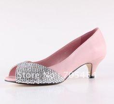 BS344 free shipping custom make low heel peep toe pink bridal wedding shos with rhinestones on AliExpress.com. $116.00