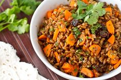 carrot rasin spelt berry salad with cumin and cilantro.  I cannot wait to try this goodness! :)