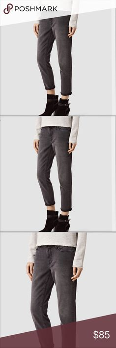 """All Saints Fay jeans in Dark Gray Expertly designed with premium mills to smooth, lift, fit and flatter in all the right places, our denim is so soft and stretchy you'll never want to take it off – and only gets better, wear after wear. In a dark grey ...Straight Fit - MidRise- Cropped leg - inseam 27"""".  Laying flat waist -  25.   14"""".      -   26.   15"""".   -   27.  16"""" All Saints Jeans Ankle & Cropped"""