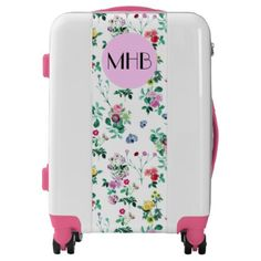 #Monogram - Roses Moth Orchids Lilies - Pink Blue Luggage - #luggage #suitcase #suitcases #bags #trunk #trunks