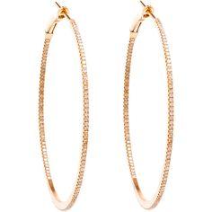 ROSA DE LA CRUZ Medium 18k Rose Gold Hoop Earrings (4,435 CAD) ❤ liked on Polyvore featuring jewelry, earrings, 18 karat gold jewelry, sparkle jewelry, round earrings, fine jewelry and stud earrings