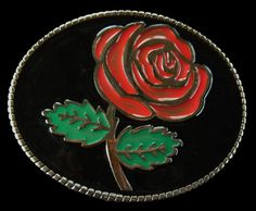 Red Rose Flower Western Cowgirl Vintage Belt Buckle
