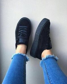 shoes creepers puma black sneakers