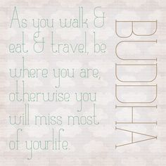 """""""As you walk & eat & travel, be where you are, otherwise you will miss most of your life."""""""