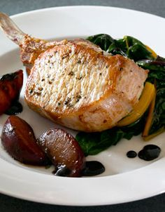 Pork Chops with Balsamic Plums and Swiss Chard