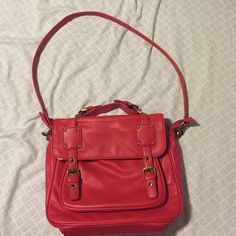 Red purse Long strap is detachable for a short handheld purse.  Cherries on the lining.  Some wear and tear (you can see where the red has peeled off in the pics).  Hits at the hip, not a cross body bag.  Very cute with brass/goldish hardware. Lots of compartments. Flying Tomato Bags Shoulder Bags