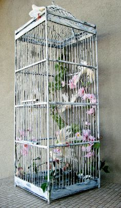 Birdcage with Doves and Apple Blossoms Shabby Bamboo Home Decor Wedding Card…
