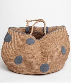 Love this large grey polka dot basket - would work equally well as shopping basket or as a home accessory - love it