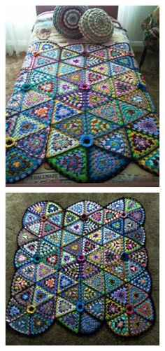 Granny Triangle Afghan Blanket Free Crochet Pattern  #freecrochetpatterns #granny #blanket