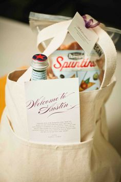 a welcome gift for the guests. perfect for out of town wedding guests, especially when the place you're getting married is a place you've lived. another Austin idea....