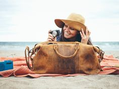 Our Leather Duffle bag, perfect for a relaxing weekend at the beach. #beach #bag #style #relax