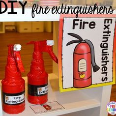 Fire Station Dramatic Play – Pocket of Preschool DIY fire extinguishers! It's so much for a fire safety theme or community helpers theme. Dramatic Play Area, Dramatic Play Centers, Preschool Dramatic Play, Dramatic Play Themes, Fire Safety Week, Preschool Fire Safety, Fire Safety Crafts, Fire Safety For Kids, Community Helpers Activities
