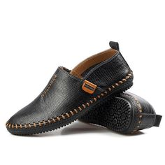 Men Casual Soft Flats Breathable Oxfords Hand-made Shoes - Banggood Mobile