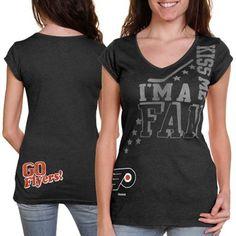 Reebok Philadelphia Flyers Ladies I'm A Fan Kiss Me Premium V-Neck T-Shirt - Black