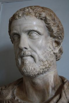 A marble bust of Roman emperor Antoninus Pius, r. 138-161 CE. (The Vatican Museums, Rome).