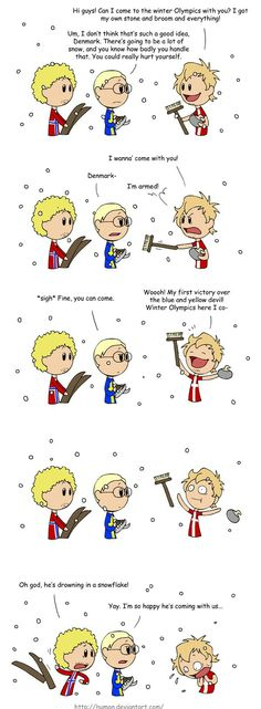 """Denmark sucks at everything that involves snow and/or ice."" Also, the stereotypical Dane is scared of nature. XD Winter OL by *humon on deviantART Satw Comic, Vs The World, Funny Memes, Hilarious, I Love To Laugh, Funny Clips, Winter Olympics, A Comics, Hetalia"
