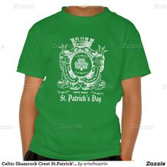 Celtic Shamrock Crest Design St. Patrick's Day T-Shirts and Sweatshirts for the whole family with personalized town name and text. Matching cards and other products available in the Holidays / St.Patrick's Day Category of the artofmairin store at zazzle.com
