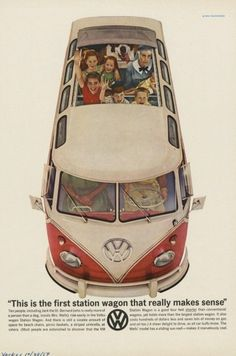 """volkswagen-bus-ad-2   Volkswagen T2 Microbus Deluxe model 244   first built in 1951   splitting the windshield and roofline into a """"vee"""" helped the production Type 2 achieve a drag coefficient of 0.44"""