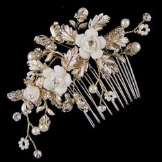 Philippa Flower & Butterfly Bridal Hair Comb (Gold)