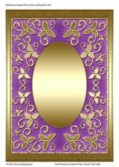 Gold Flowers Swirls Plain Card Front 29  on Craftsuprint designed by Anna Babajanyan - Beautiful blank Large Card Base/ Card Front/ Frame with oval metallic gold center and my floral swirls ornaments around it. You can use this card for various occasions: Birthday, Just For You, Thank You, Congratulations, Anniversary, Good Luck, Wife Birthday, Mothers Day etc. Add any image or craft-work, charm or a poem to complete it.Another option for this design is to use it as an Aperture card, you ...