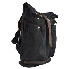 Černý batoh s koženými detaily Adventurer  955f7a9700