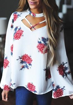 online shopping for New Floral Women Casual V Neck Floral Flare Long Sleeve Loose Choker Blouse Top from top store. See new offer for New Floral Women Casual V Neck Floral Flare Long Sleeve Loose Choker Blouse Top Estilo Fashion, Mode Outfits, School Outfits, Blouse Styles, Floral Blouse, Floral Sleeve, Blouses For Women, Casual, Sleeves