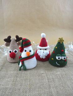 Amigurumi Christmas Collection - Crochet Christmas Pattern For Home Decoration Crochet Christmas Decorations, Christmas Crochet Patterns, Holiday Crochet, Christmas Crafts, Christmas Christmas, Crochet Diy, Crochet Amigurumi, Amigurumi Doll, Scarf Crochet