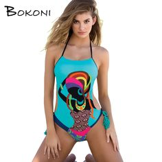 7b43ceb7bb425 Sexy Print One Piece Swimsuit 2018 Blue Women Halter Swimwear Bathing Suit  Women Body suits female Monokini Beachwear Swimsuit-in One-Piece Suits from  ...