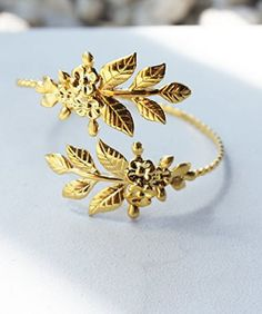 Floral Leaf Gold or Silver Plated Goddess Adjustable Bangle Bracelet Arm Cuff Jewelry Fashion Casual (Gold)