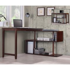 Give your home office a contemporary, durable accent with the Hamburg desk and bookshelf. This unique desk is available in four elegant finishes and features a swing-out design for a variety of custom configurations.