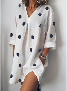 Summer Woman Loose Dot Print Dress V Neck Nine Points Sleeve Casual Dresses Woman Beach Dress Large Sizes Vestidos De Mujer Color Sky blue Size S Short Mini Dress, Mini Dress With Sleeves, Dress Long, Half Sleeves, Casual Dresses, Short Dresses, Mini Dresses, Spring Dresses, Dresses Dresses