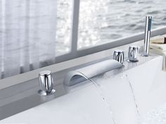 Triple Handle Deck Mount Bath Tub Faucet
