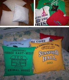 This is a guide about making t-shirt pillows. Favorite t-shirts often hold memories we would like to keep. So rather than throw them away, make pillows.