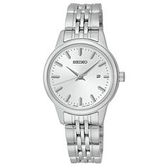 Seiko Quartz White Dial Silver Plated Stainless Steel Women's Watch SUR837 >>> More info could be found at the image url.