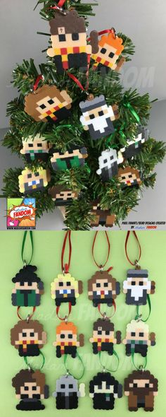 Mini Christmas Tree ornaments- the whole Harry Potter gang! Harry, Hermonine, Ron, Hagrid, everyone! In pixels! #harrypotter #minichristmastree #ornament #miniornament #christmastree #affiliatelink