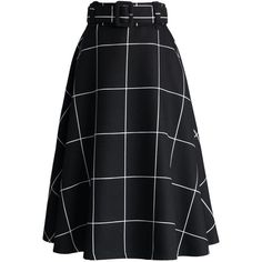 Chicwish Sway the Plaids Belted Midi Skirt in Black ($42) ❤ liked on Polyvore featuring skirts, bottoms, saias, black, gonne, patterned midi skirt, checked skirt, plaid midi skirt, tartan plaid skirt and belted skirt